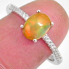 2.68cts natural multi color ethiopian opal zircon 925 silver ring size 7.5 r3979