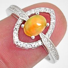 2.61cts natural multi color ethiopian opal zircon 925 silver ring size 7.5 r3980