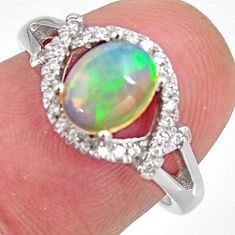 2.95cts natural multi color ethiopian opal zircon 925 silver ring size 6.5 r3981