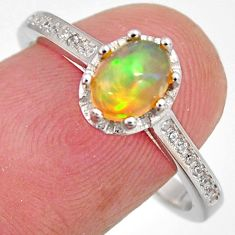 2.61cts natural multi color ethiopian opal zircon 925 silver ring size 8.5 r3982
