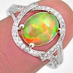 925 silver 4.67cts natural multi color ethiopian opal zircon ring size 7.5 r3984