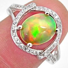 4.42cts natural multi color ethiopian opal zircon 925 silver ring size 7.5 r3985