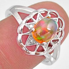 2.22cts natural multi color ethiopian opal zircon 925 silver ring size 7.5 r3986