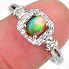 1.63cts natural multi color ethiopian opal zircon 925 silver ring size 7.5 r3987