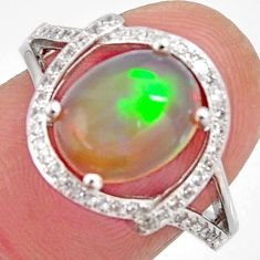 925 silver 4.22cts natural multi color ethiopian opal zircon ring size 7 r3989