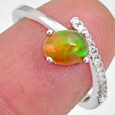 2.03cts natural multi color ethiopian opal zircon 925 silver ring size 6.5 r3990