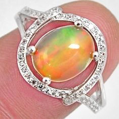 4.26cts natural multi color ethiopian opal zircon 925 silver ring size 7.5 r3992