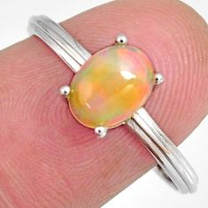 925 sterling silver 2.13cts natural multi color ethiopian opal ring size 9 r3993