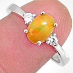 2.92cts natural multi color ethiopian opal zircon 925 silver ring size 8.5 r3995