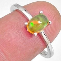 1.81cts natural multi color ethiopian opal zircon 925 silver ring size 7.5 r3997