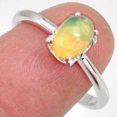 925 silver 1.58cts natural multi color ethiopian opal oval ring size 7.5 r4011