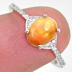 2.68cts natural multi color ethiopian opal topaz 925 silver ring size 6.5 r4018