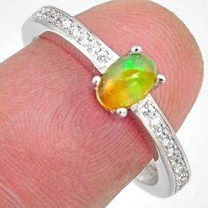 925 silver 1.72cts natural multi color ethiopian opal topaz ring size 7.5 r4019