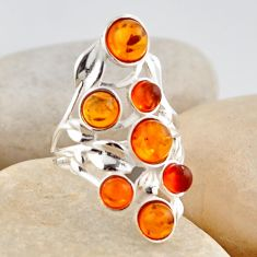 925 silver 3.84cts natural orange baltic amber (poland) ring size 6.5 r4023
