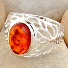 3.41cts natural orange baltic amber 925 silver solitaire ring size 8.5 r4028