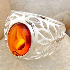 3.29cts natural orange baltic amber 925 silver solitaire ring size 6.5 r4029