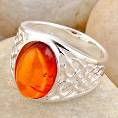 2.52cts natural orange baltic amber 925 silver solitaire ring size 5.5 r4037