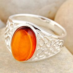 2.76cts natural orange baltic amber 925 silver solitaire ring size 8.5 r4038