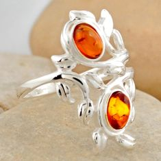 1.94cts natural orange baltic amber (poland) 925 silver ring size 7.5 r4041