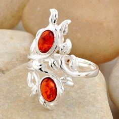 925 silver 2.01cts natural orange baltic amber (poland) oval ring size 6.5 r4044