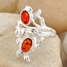 1.81cts natural orange baltic amber (poland) 925 silver ring size 5.5 r4045