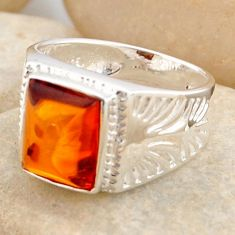 925 silver 2.33cts natural orange baltic amber solitaire ring size 6.5 r4047