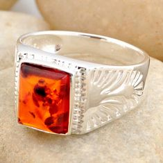 2.46cts natural orange baltic amber 925 silver solitaire ring size 9.5 r4048
