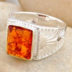 2.46cts natural orange baltic amber 925 silver solitaire ring size 7 r4049