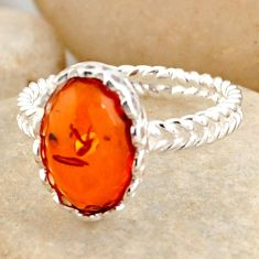 925 silver 2.87cts natural orange baltic amber solitaire ring size 6.5 r4051