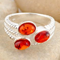 2.63cts natural orange baltic amber (poland) 925 silver ring size 6.5 r4057