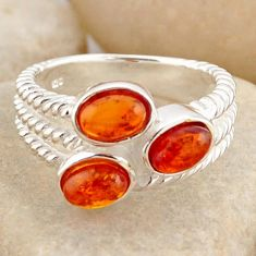 925 silver 2.63cts natural orange baltic amber (poland) ring size 6.5 r4058