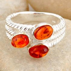 2.51cts natural orange baltic amber (poland) 925 silver ring size 6.5 r4059