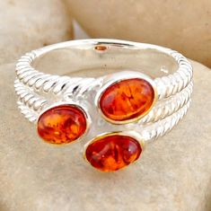 2.73cts natural orange baltic amber (poland) 925 silver ring size 7.5 r4060