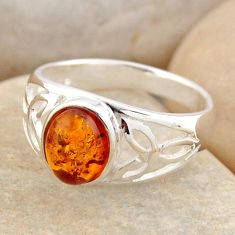 1.45cts natural orange baltic amber 925 silver solitaire ring size 5.5 r4063