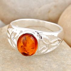925 silver 1.64cts natural orange baltic amber solitaire ring size 5.5 r4064