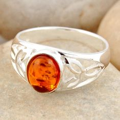 1.51cts natural orange baltic amber 925 silver solitaire ring size 6.5 r4065
