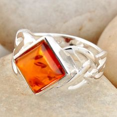 2.41cts natural orange baltic amber 925 silver solitaire ring size 6.5 r4067