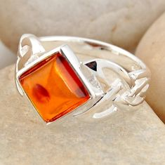 925 silver 2.55cts natural orange baltic amber solitaire ring size 8.5 r4068
