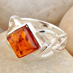 2.41cts natural orange baltic amber 925 silver solitaire ring size 6.5 r4069