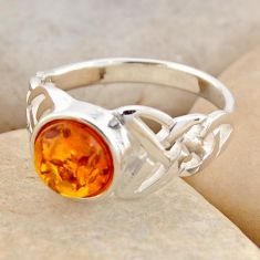 1.94cts natural orange baltic amber 925 silver solitaire ring size 7.5 r4071