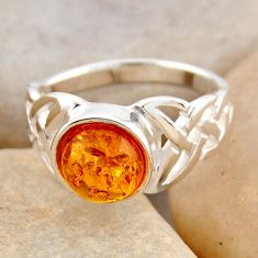 1.91cts natural orange baltic amber 925 silver solitaire ring size 6.5 r4073