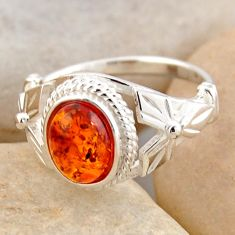 925 silver 1.84cts natural orange baltic amber solitaire ring size 5.5 r4076