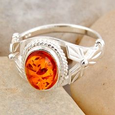 925 silver 1.74cts natural orange baltic amber solitaire ring size 5.5 r4080