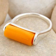 4.08cts natural orange baltic amber 925 silver solitaire ring size 7 r4081
