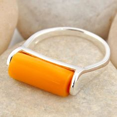 4.02cts natural orange baltic amber 925 silver solitaire ring size 7 r4082