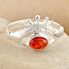 0.86cts natural orange baltic amber 925 silver solitaire ring size 7.5 r4086