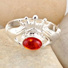 0.87cts natural orange baltic amber 925 silver solitaire ring size 5.5 r4087