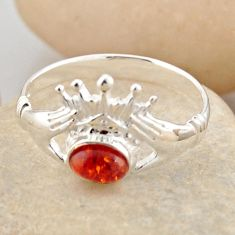 925 silver 0.91cts natural orange baltic amber solitaire ring size 8.5 r4090