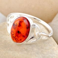 3.07cts natural orange baltic amber 925 silver solitaire ring size 8.5 r4091