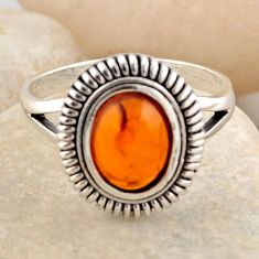 1.46cts natural orange baltic amber 925 silver solitaire ring size 7.5 r4096